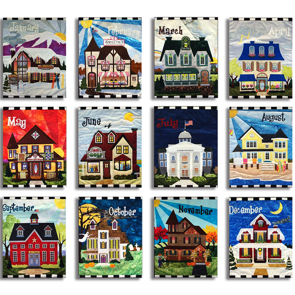 Holiday Houses - All Months - FULL KIT Laser Cut Pre Fused Applique Quilt Kit