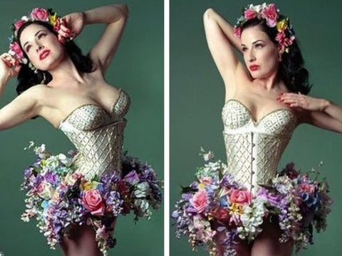 dita von teese burlesque dancer florist flower design inspiration ballet waist trainer