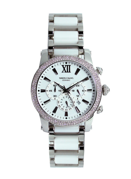Simon Chang SC229.4WHT Ceramic Chronograph