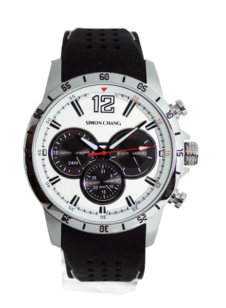 Simon Chang SC238.1 White Tennis Chronograph