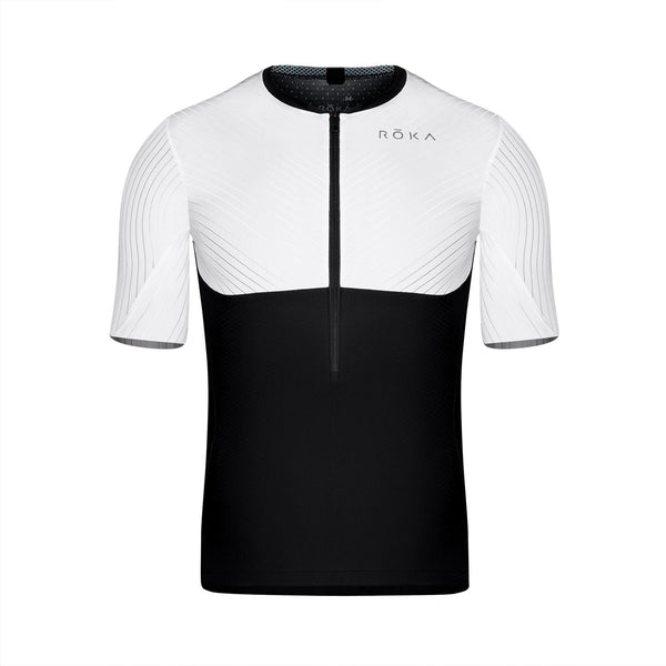 Men's Gen II Elite Aero Short Sleeve Tri Top - White/Black