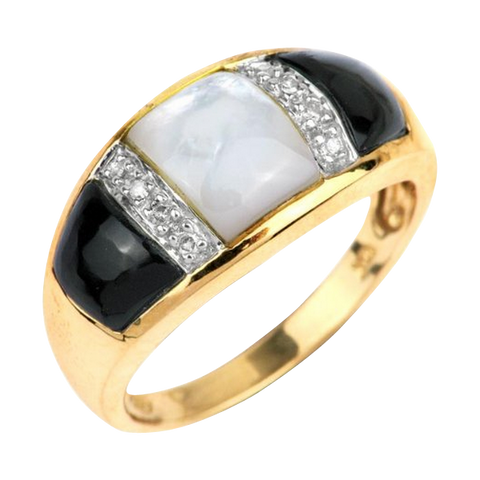 10K Yellow Gold Mother of Pearl Black yx Diamond Accent Ring