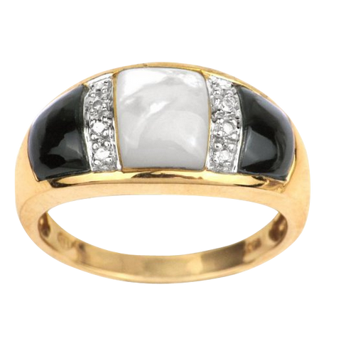 10K Yellow Gold Mother of Pearl, Black Onyx, Diamond Accent Ring