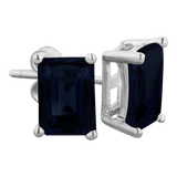 3ct Emerald Cut Midnight Sapphire Earrings In Sterling Silver
