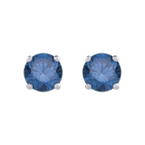 Blue - I1 Round Brilliant Cut Diamond Earring Studs in 14K White Gold