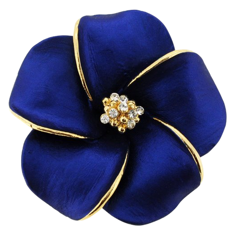 Blue Hawaiian Plumeria Flower Pin Swarovski Crystal Pin Brooch And Penda