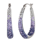 Carnevale Sterling Silver Colored Hoop Earrings with Swarovsk