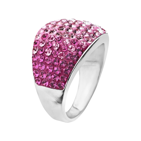 Carnevale Sterling Silver Pink Dome Swarovski Elements Ring