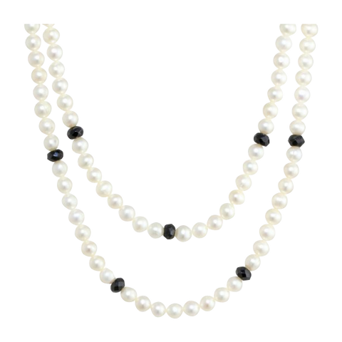 Faceted Black Onyx Rondelle White Freshwater Cultured Pearl Endless Necklac