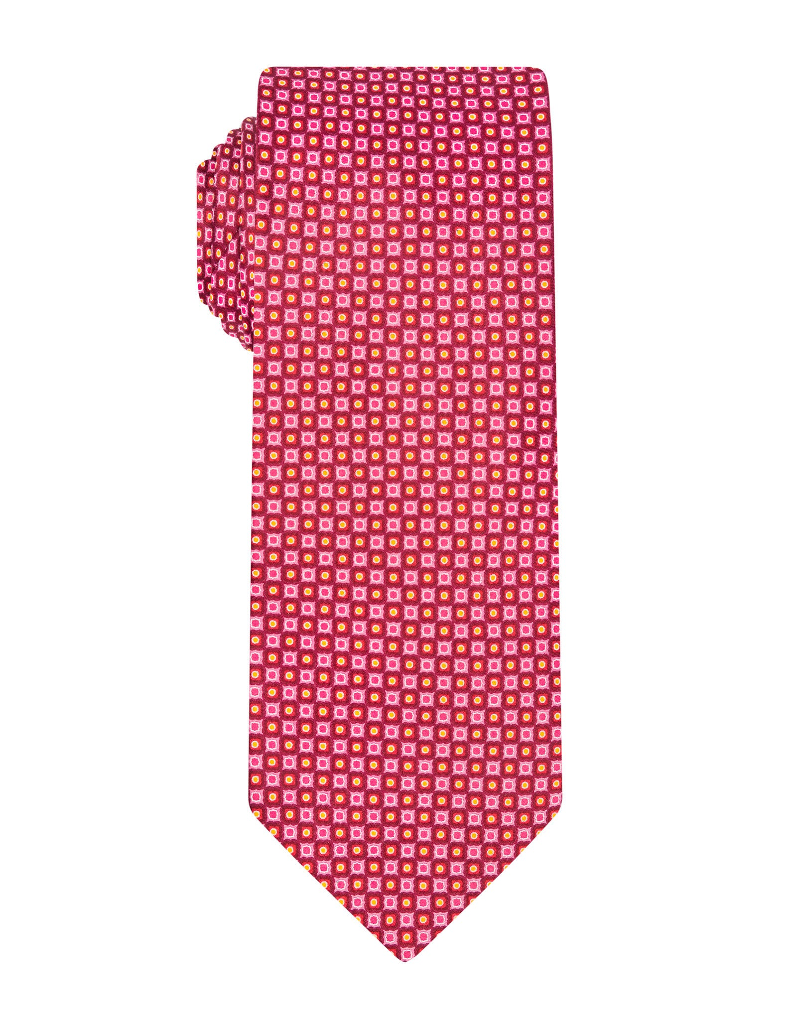 Pink Handprinted Geometric Tie