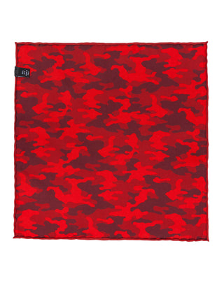 Red Double Sided Camo Pocket Square