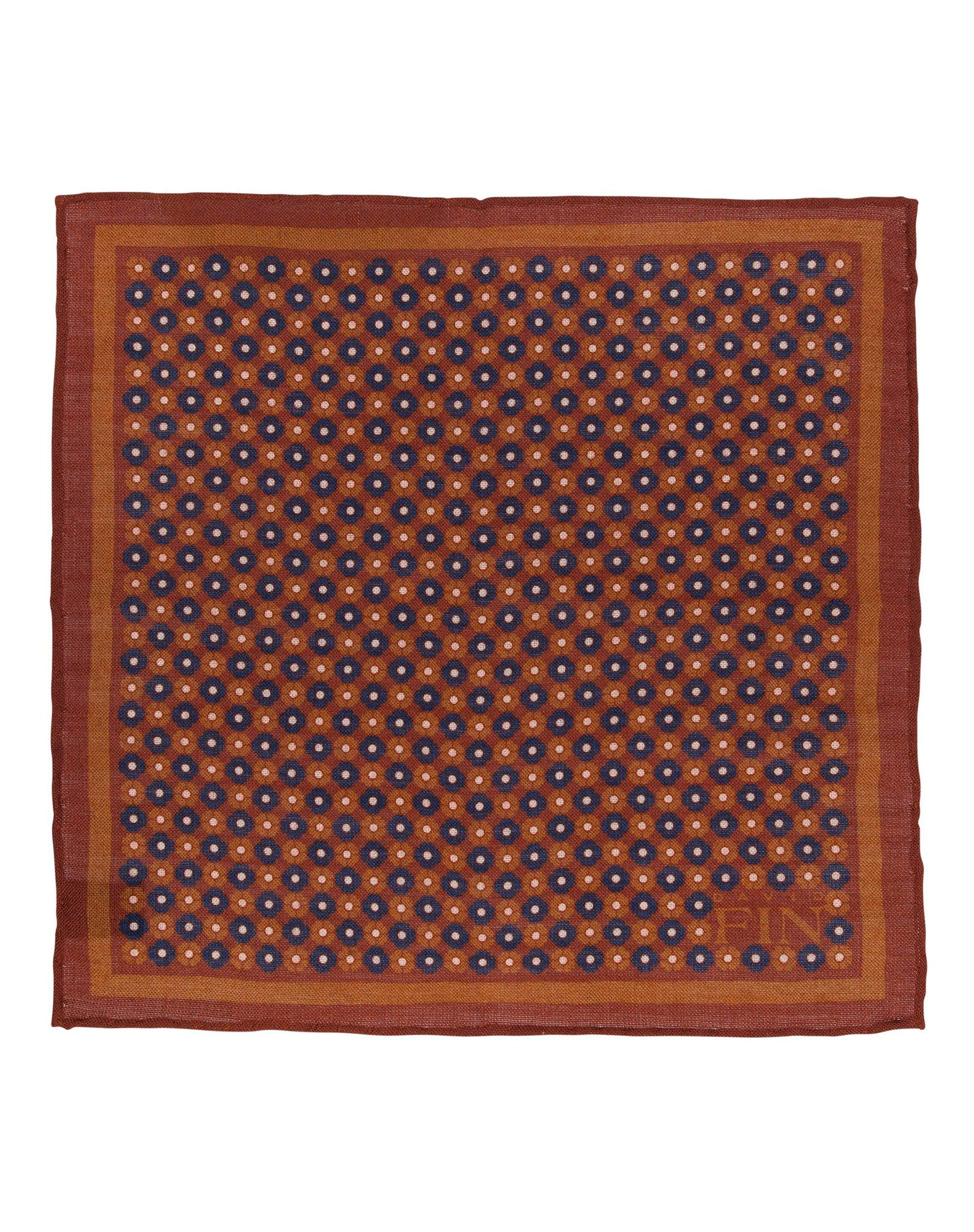 Brown Floral Wool Pocket Square