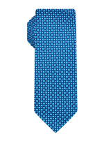 Blue Handprinted Geometric Tie