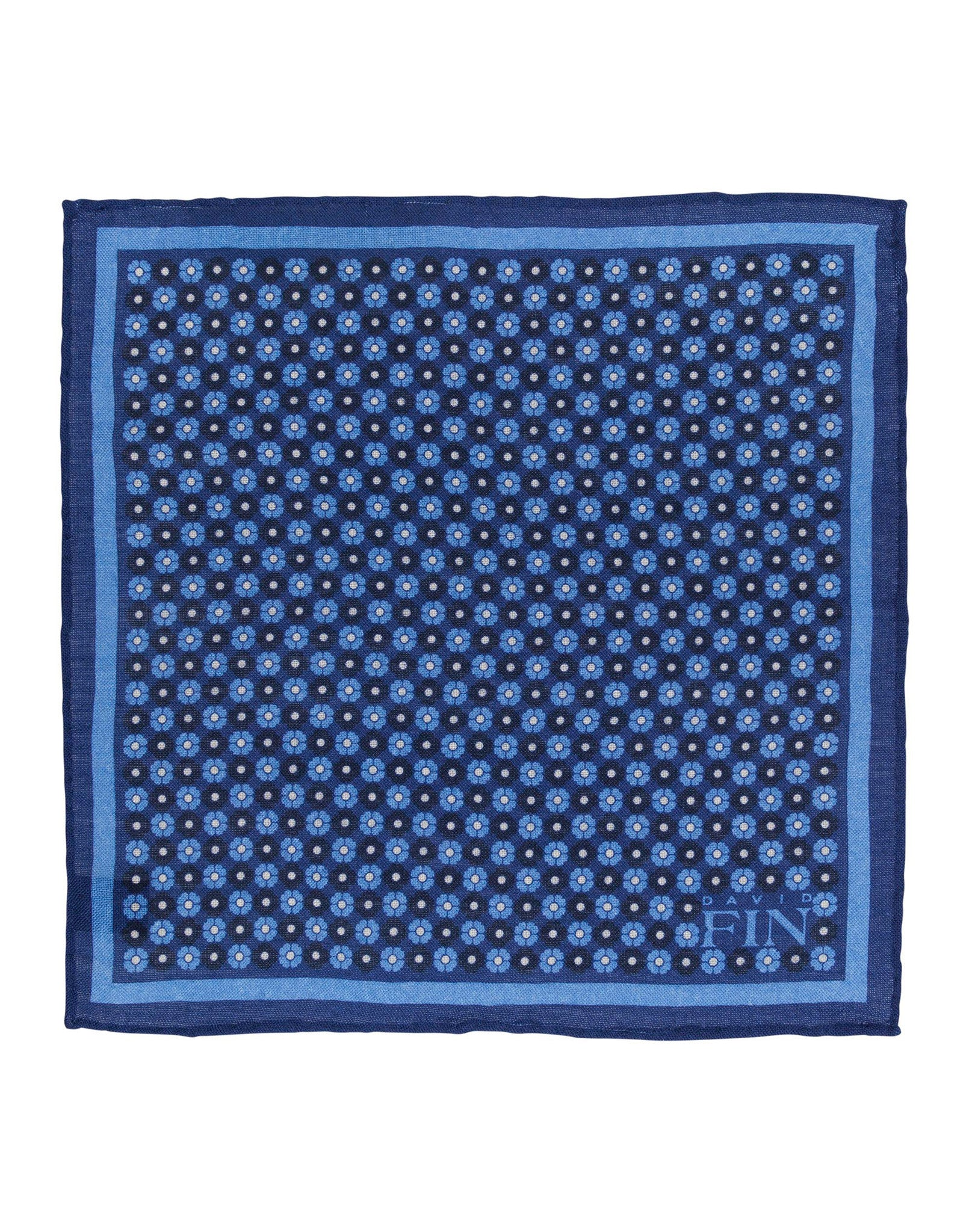 Blue Floral Wool Pocket Square