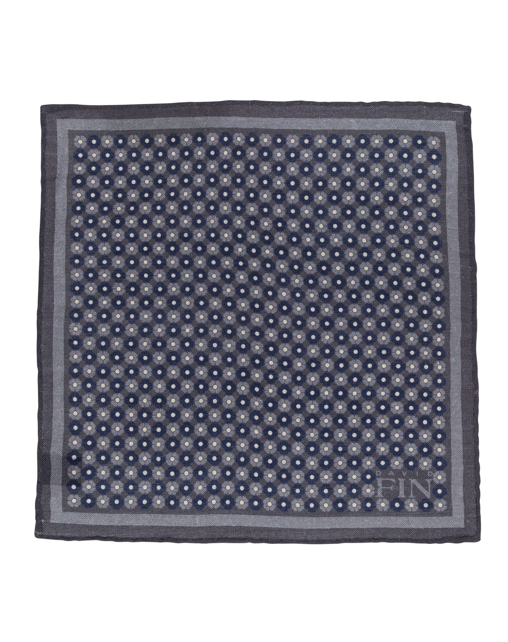 Grey Floral Wool Pocket Square