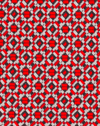 Red Woven Square Medallion Tie