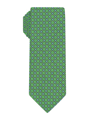 Green Handprinted Diamond Tie