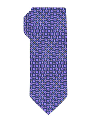 Purple Handprinted Diamond Tie