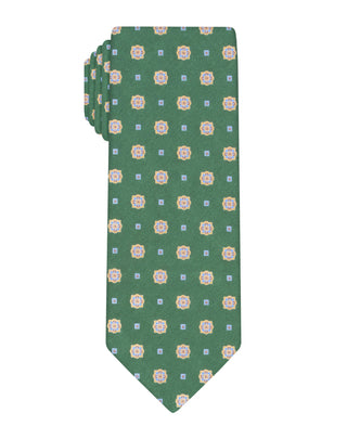 Green Handprinted Bloom Tie