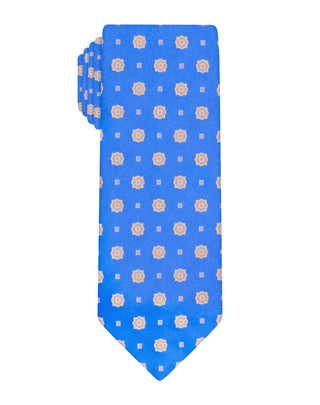 Blue Handprinted Bloom Tie