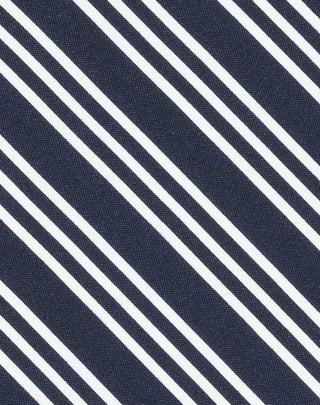 Navy Double Stripe Printed Satin