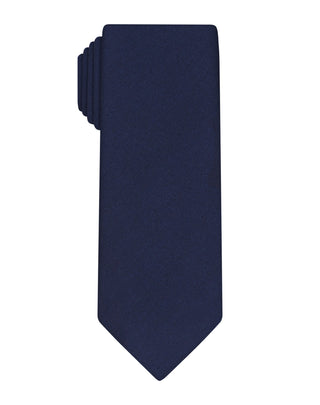 Navy Handprinted Satin Tie