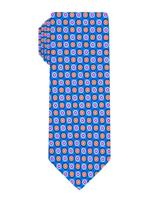 Blue Printed Double Halo Tie