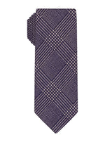 Purple Printed Wool Plaid Skinny Tie
