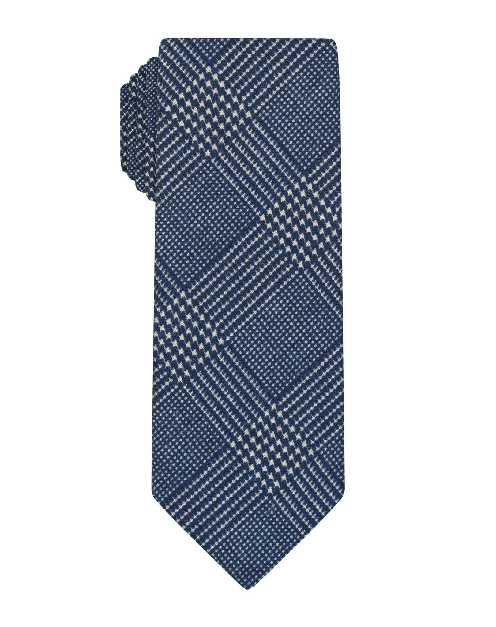 Blue Printed Wool Plaid Skinny Tie