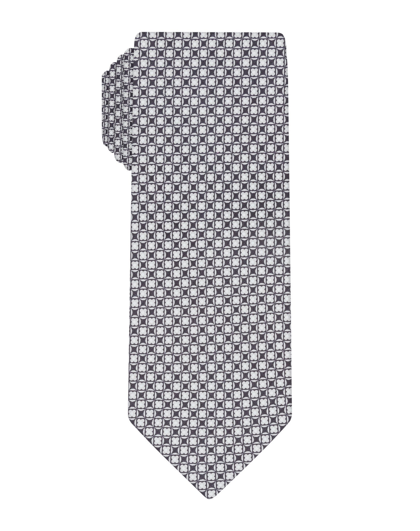 Grey Handprinted Small Neat Tie