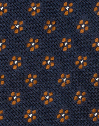 Navy/Brown Floral Grenadine Tie