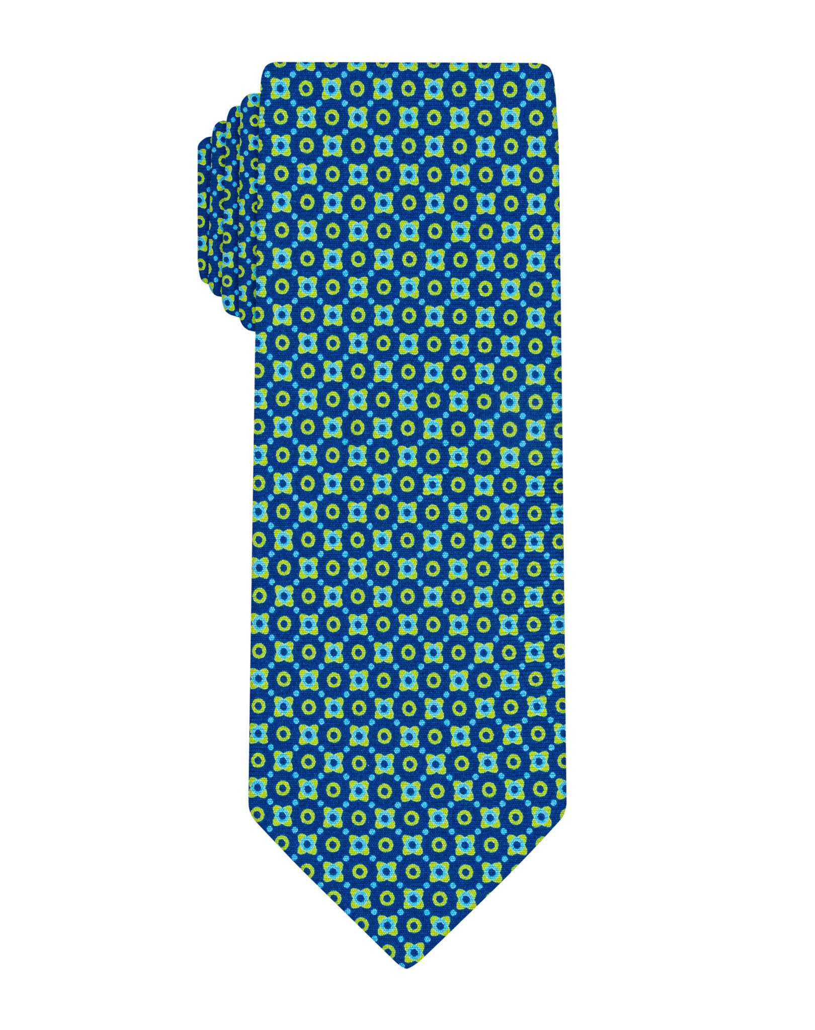 Navy/Green Printed Neat Tie