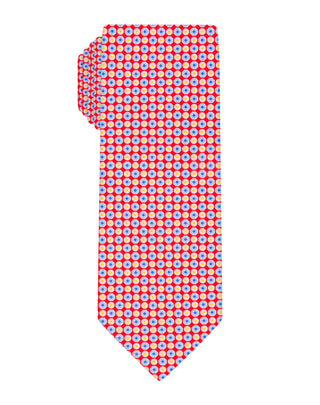 Red Handprinted Small Floral Tie