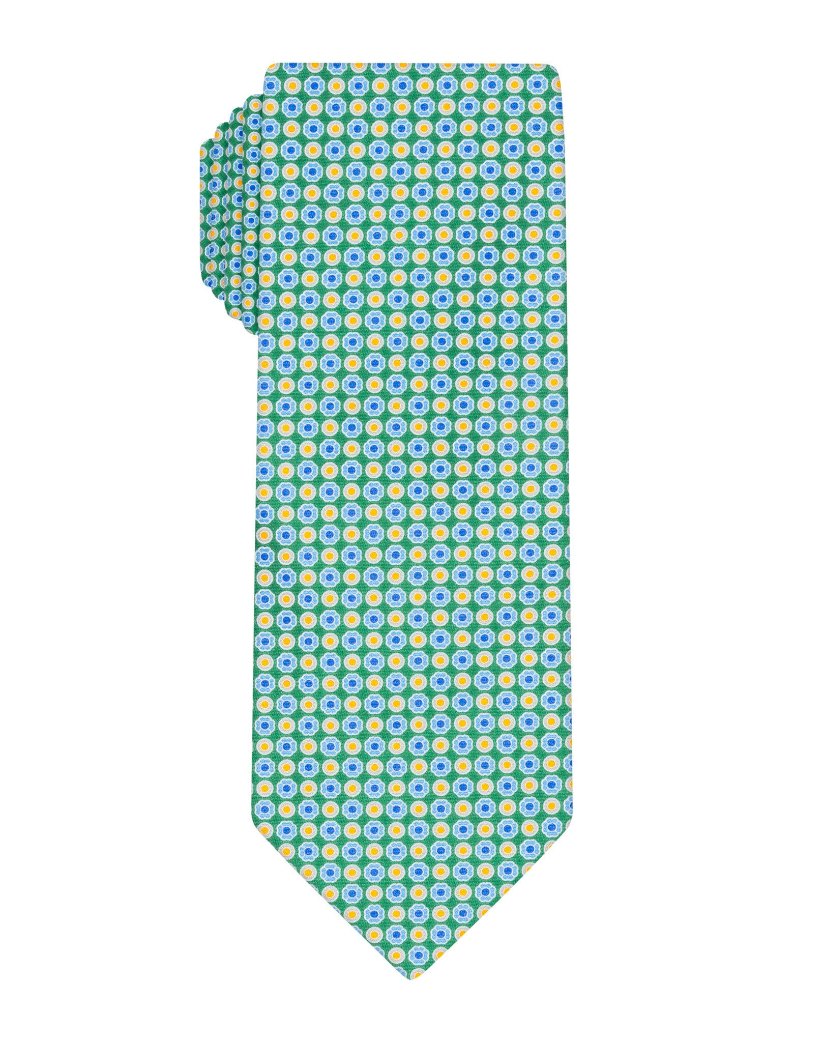 Green Handprinted Small Floral Tie