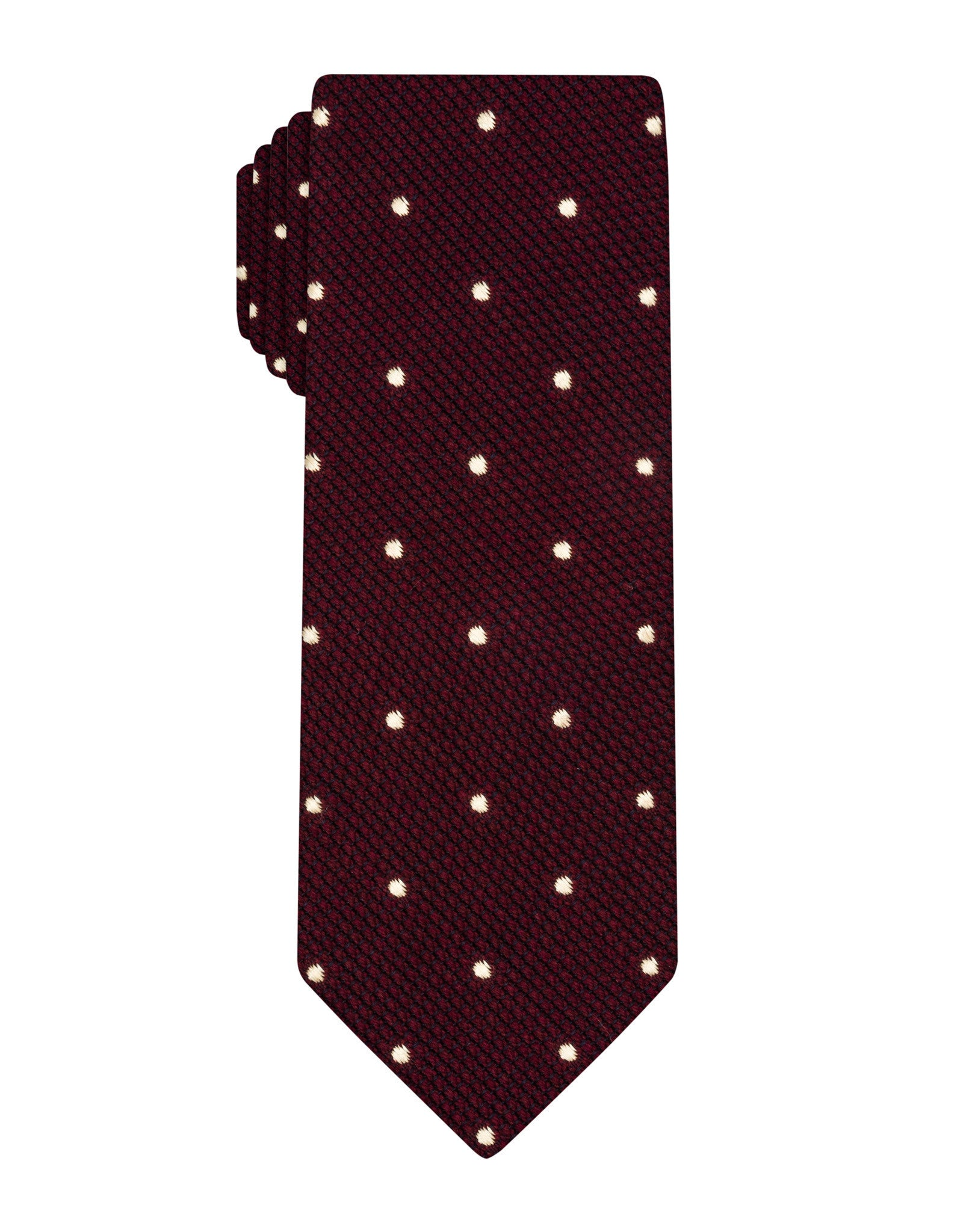 Burgundy Wool Grenadine Polka Dot Tie