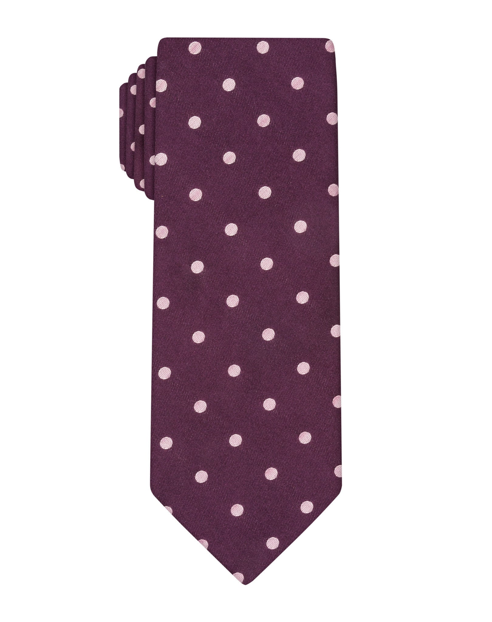 Purple Satin Polka Dot Tie