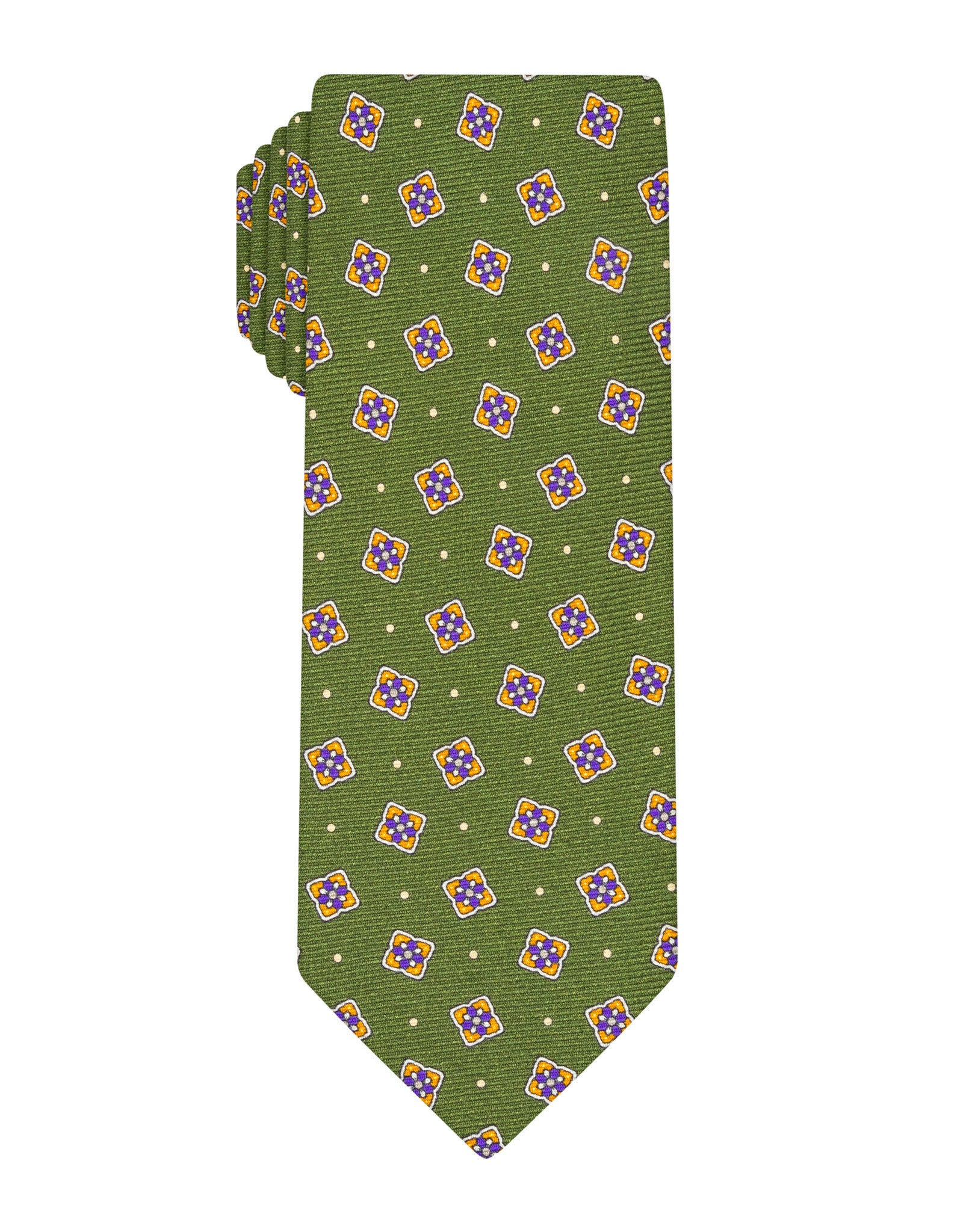 Green Printed Patch Tie