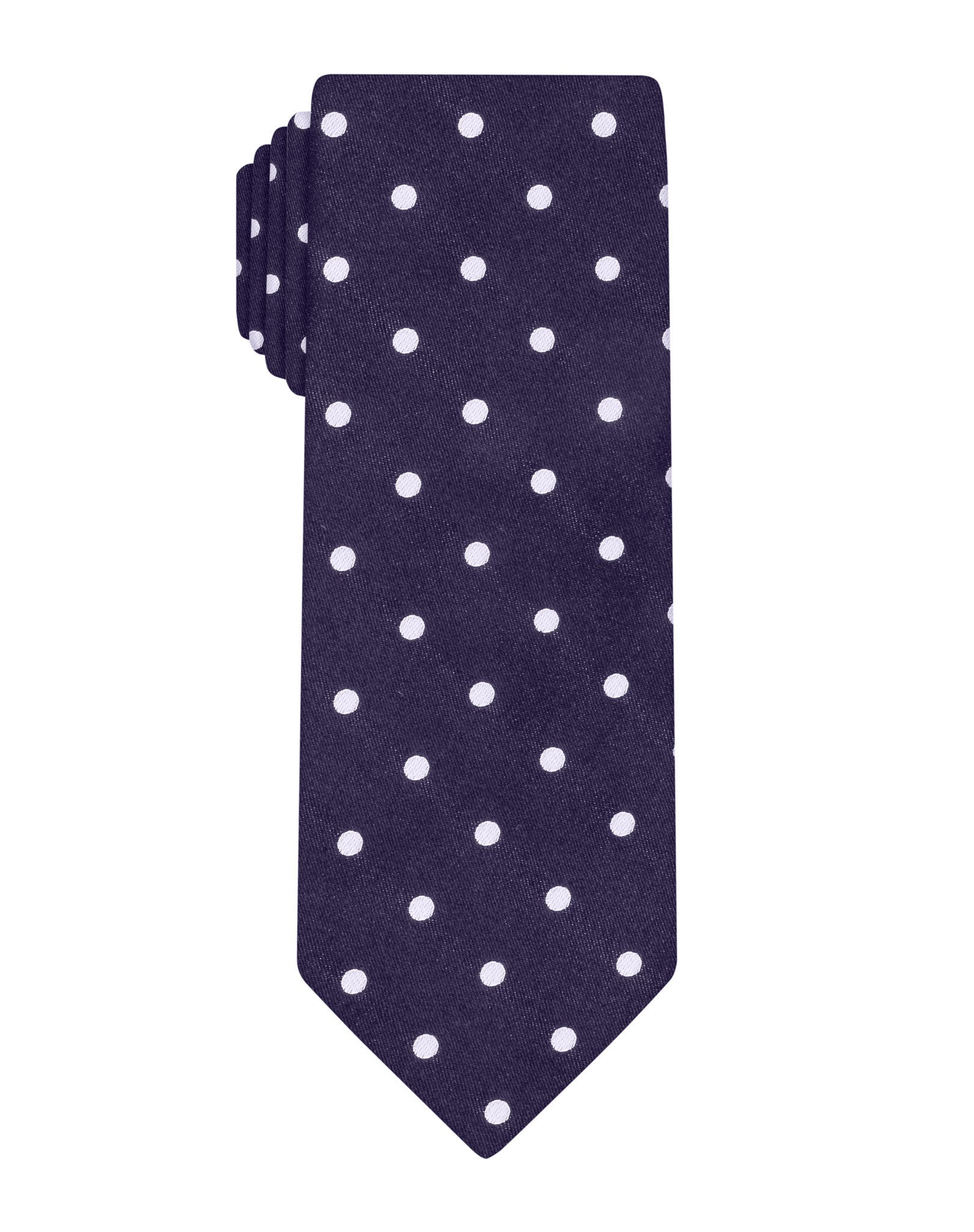 Navy Satin Polka Dot Tie