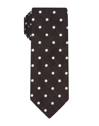 Black Satin Polka Dot Tie