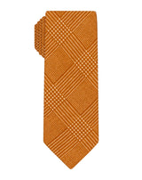 Orange Printed Wool Plaid Skinny Tie