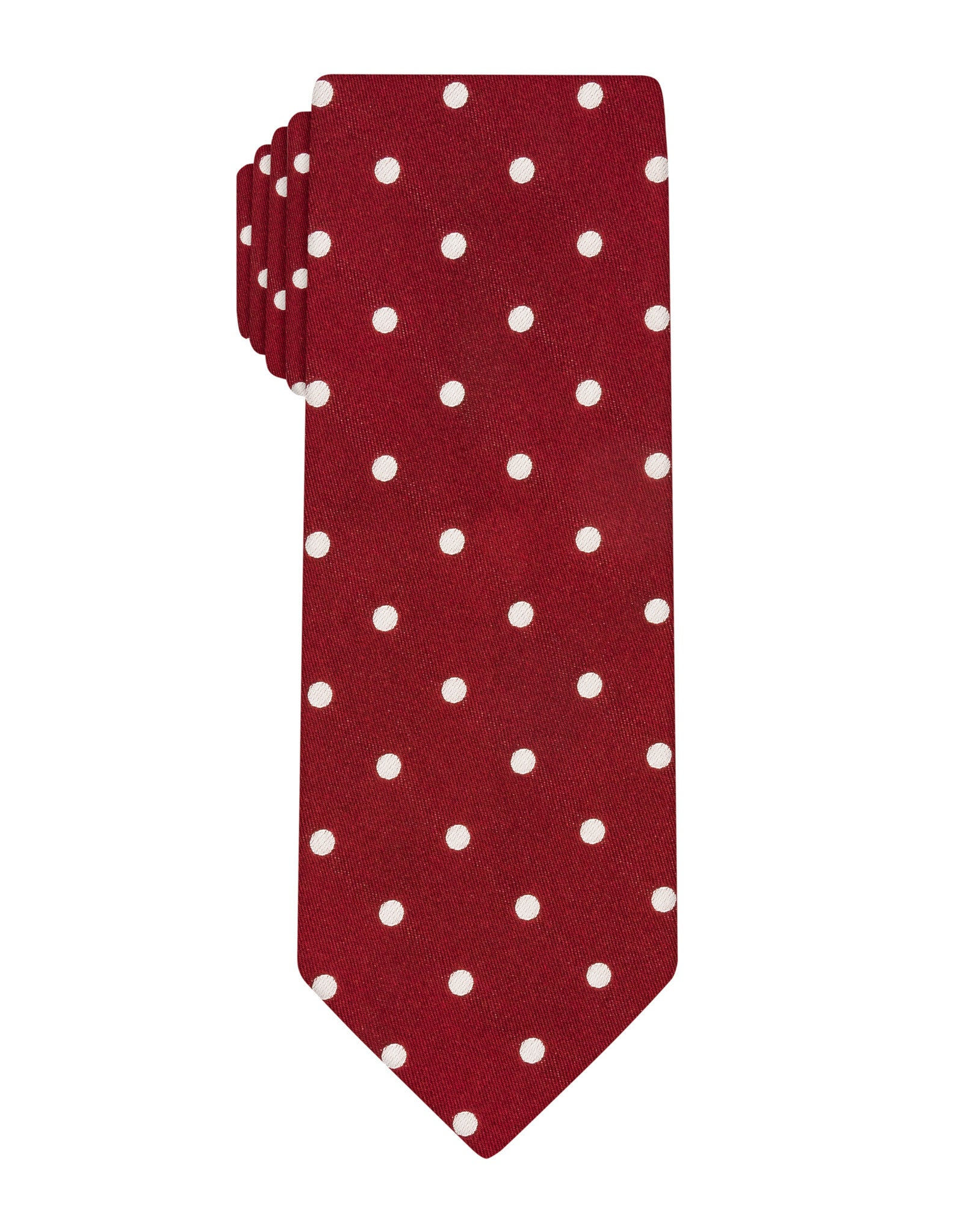 Burgundy Satin Polka Dot Tie