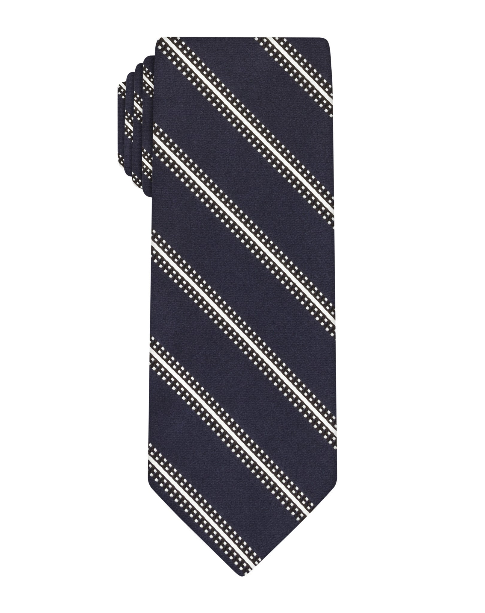 Navy Satin Stripe Tie
