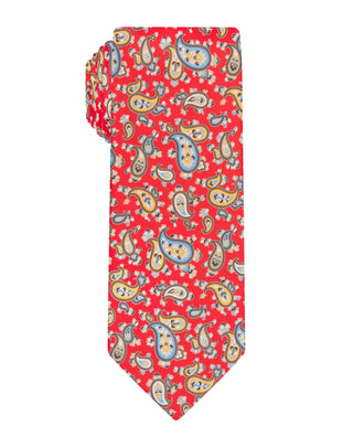 Red Handprinted Paisley Tie