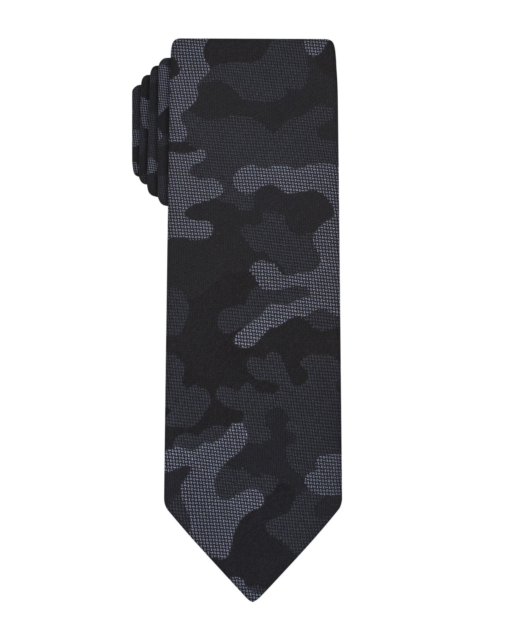 Black Woven Camouflage Skinny Tie