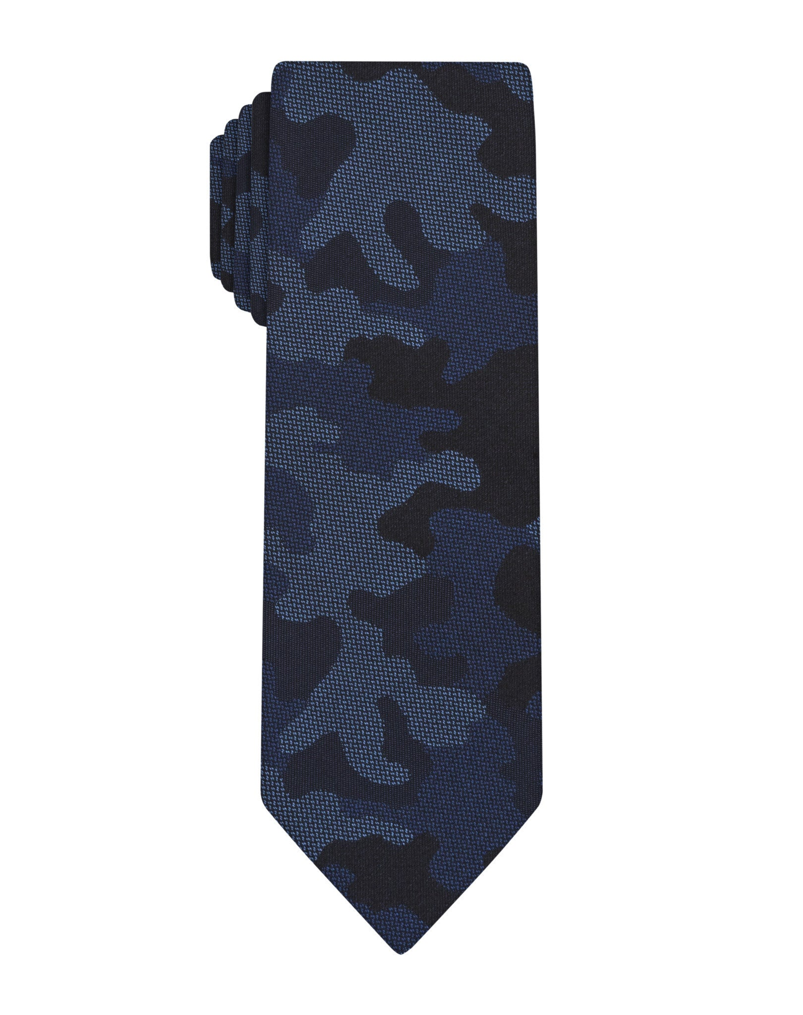 Navy Woven Camouflage Skinny Tie