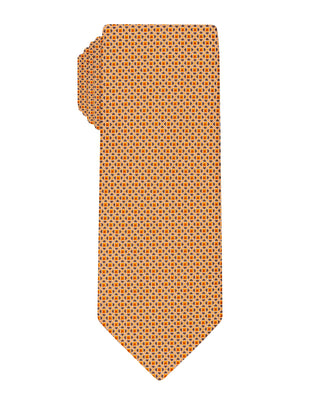 Orange Handprinted Symmetrical Tie