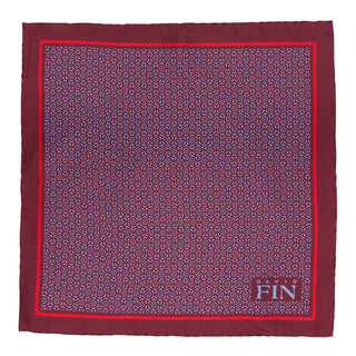Burgundy Geometric Floral Pocket Square
