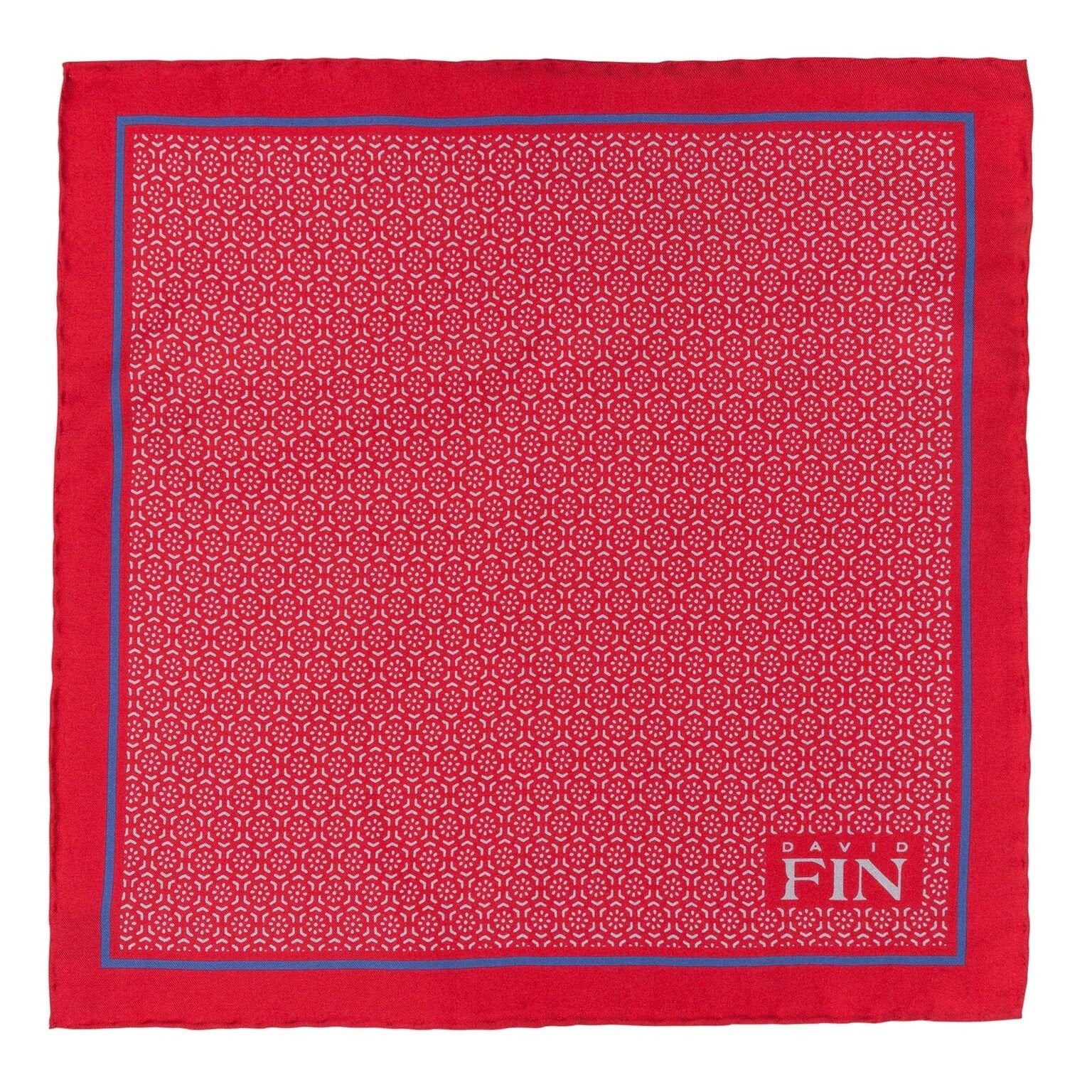 Red Geometric Floral Pocket Square