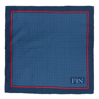 Navy Geometric Floral Pocket Square