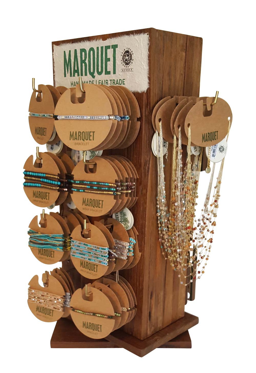 Rotating Tabletop Display with 54 earrings, 48 bracelets, and 12 necklaces